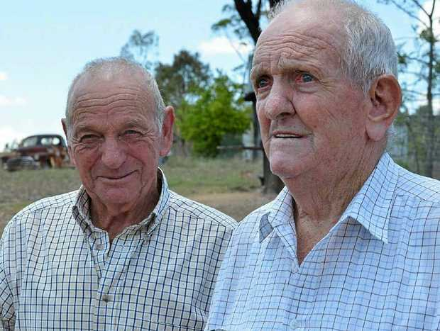 "BOYS WILL BE BOYS: Alwyn 'Hambo' Hamblin reckons Mac Costello taught him how to drink some 50 years ago at a cut out party at the Seagoe woolshed. And Hambo describes himself as a ""good student."""